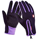 SWAMPLAND Anti-Rutsch Full Finger Fahrradhandschuhe Winddicht Wasserabweisend Touchscreen Handschuhe für Damen und Herren (L, Lila)