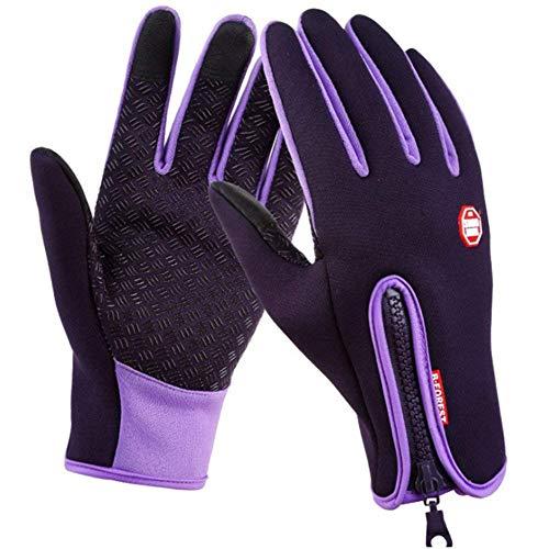 SWAMPLAND Anti-Rutsch Full Finger Fahrradhandschuhe Winddicht Wasserabweisend Touchscreen Handschuhe für Damen und Herren (M, Lila)