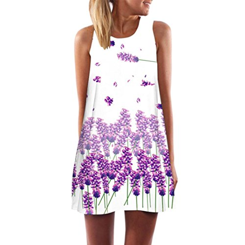 TUDUZ Damen Sommer Vintage Boho Ärmelloses Sommerstrand Gedruckt Kurzes Minikleid Blumenkleid T-Shirt Tops Kleider-Faschingskostüme (Lila -A, S)