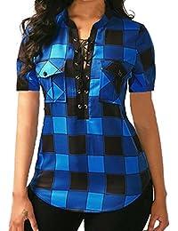 d68544eb8 Lenfesh Camisa de Cuadros Manga Corta Cuello en V Mujer Verano Suelta Blusa  Bolsillo Mezcla de