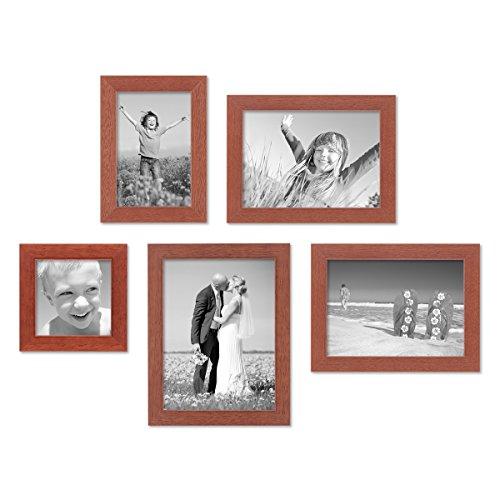 PHOTOLINI 5er Set Bilderrahmen 10x10, 10x15, 13x18 und 15x20 cm Kirsche Modern Massivholz-Rahmen mit Glasscheibe inkl. Zubehör/Fotorahmen - Kirsche Rahmen