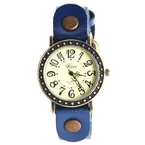 Yesurpriseweave Retro Elegant Leather Strap Quartz Women Lady Girl Bangle Bracelet Watch Gift Deep Blue