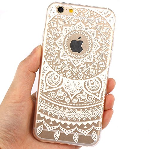 JIAXIUFEN Transparent TPU Silikon Schutz Handy Hülle Case Cover Handyhülle Schutzhülle Rosa Glitzer Durchsichtig Blumen Tasche Etui Bumper für Apple iPhone 6 6S - weiß Tribal Mandala Color11