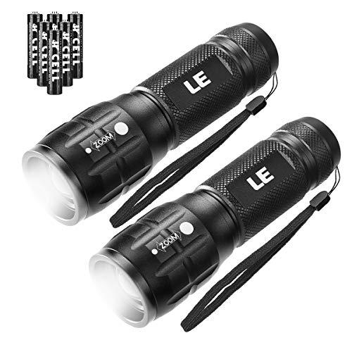 LE LED Taschenlampe, Wasserdicht Taschenlampen für Outdoor Sports, Tragbarer Zoombar Superhelle CREE LED Flashlight, Extrem Hell Camping Taschenlampe für Männer, Frauen, Kinder (Black 2 Pack)