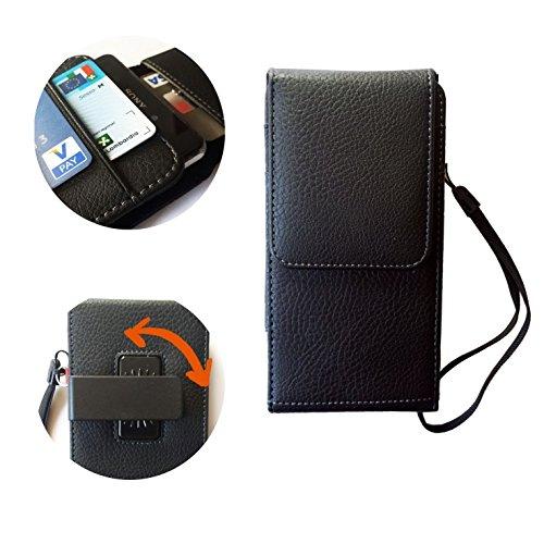Custodia cover portafoglio per lg g4 / g4 stylus g5 - top sicurezza con il laccetto da polso - comodissima clip da cintura regolabile e angolabile - scomparti per carte -in morbida similpelle marrone