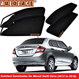 #4: Autofact Magnetic Window Sunshades/Curtains for Maruti Swift Dzire (2012 to 2016) [Set of 4pc - Front 2pc With Zipper ; Rear 2pc Without Zipper] (Black)