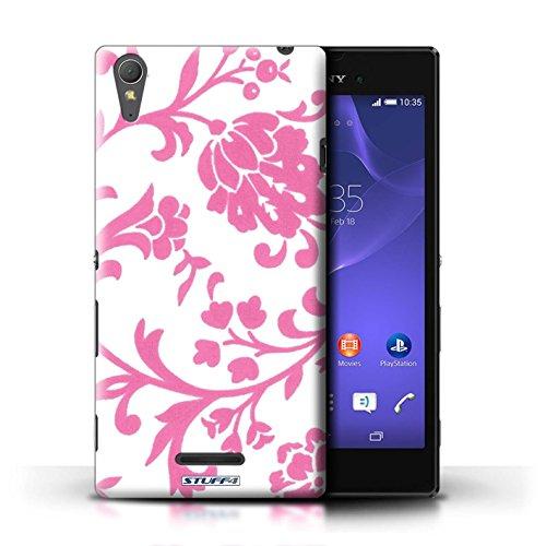 Kobalt® Imprimé Etui / Coque pour Sony Xperia T3 / Fleurs Verte conception / Série Motif floral Fleurs Rose