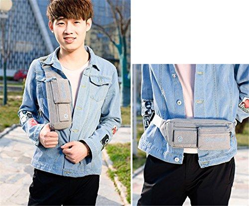 Bolsa de cintura Pack riñonera bolso de cintura Hip Pack bolsa de running correr cinturón bolsa resistente al agua con soporte para botellas de senderismo camping senderismo tejido de nylon multicolor de perros, azul