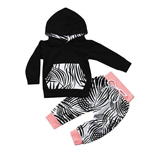 Baby Kapuzenpullover Winterjacke Strampelhöschen Hirolan Neugeborene Kleidung 2pcs Kleinkind Junge Mädchen Kleider Set Blätter Drucken Schwarz Tops Hose Anzug Outfits (70cm, (Kostüme Twin Für Babys)