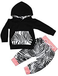 Baby Kapuzenpullover Winterjacke Strampelhöschen Hirolan Neugeborene Kleidung 2pcs Kleinkind Junge Mädchen Kleider Set Blätter Drucken Schwarz Tops Hose Anzug Outfits