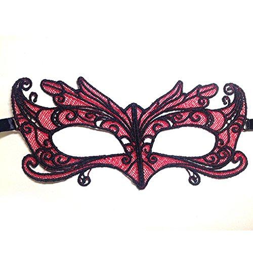 Bomcomi Halloween Half Face Lace Red Fox Hollow Partei Maske Make-up anzeigen ()