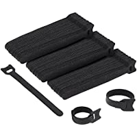 Zacro Fastening Cable Ties, 100 Pieces Reusable Cable Ties Wrap Strap,Cable Management Thin Hook and Loop Cable Ties Black with 0.5 Inch x 6 Inch Long