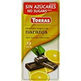 Torras No Added Sugar Dark Orange Chocolate Bar 75 g (Pack of 5)