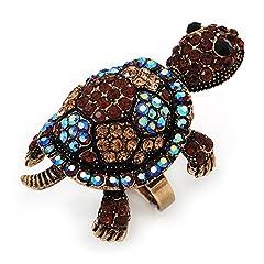 Idea Regalo - Grande AB/citrino e ambra, a forma di tartaruga, con cristalli, anello In metallo, regolabile, per bruciare oro, 5 cm di lunghezza