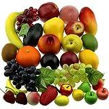 Gresorth 30 Fruchts Dekorativ Realistic Künstlich Frucht Fälschung Zitrone Banane Apfel Traube Pfirsich Birne
