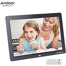 Andoer 12'' HD TFT-LCD 1280 * 800 Marco de Fotos Digital Full-view Alarma Reloj MP3 MP4 Reproductor de Película con Escritorio Remoto