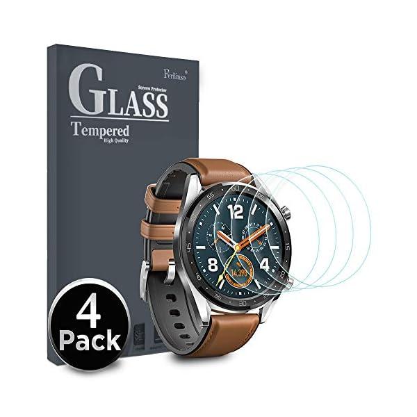 Ferilinso Protector de Pantalla para Huawei Watch GT, [4 Pack] [Vidrio NO Templado] Protector de Pantalla de Repuesto de Alta sensibilidad Full Coverage 3D Pet Película 1