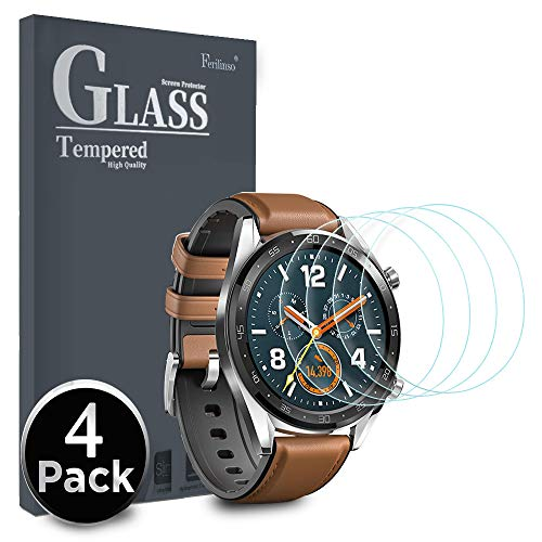 Ferilinso Protector de Pantalla para Huawei Watch GT, [4 Pack] [Vidrio NO Templado] Protector de Pantalla de Repuesto de Alta sensibilidad Full Coverage 3D Pet Película