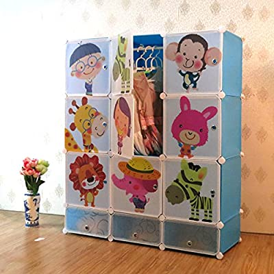 Kids Toy Boxes Children Wardrobe with Shoe Rack Storage Cubes Interlocking Storage Units Home Organiser - 9 Safari Animals with Shoe Rack (Blue) produced by Best Desk - quick delivery from UK.