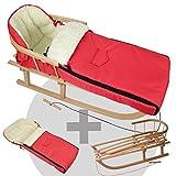 BambiniWelt24 BAMBINIWELT Kombi-Angebot Holz-Schlitten mit Rückenlehne & Zugseil + universaler Winterfußsack (108cm), auch geeignet für Babyschale, Kinderwagen, Buggy, aus Wolle Uni rot