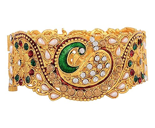 Aabhu American Diamond Peacock Design Kundan Pearl Studded Antique Gold Plated Bangle kada Bracelet Set Jewellery For Women And Girl  available at amazon for Rs.279