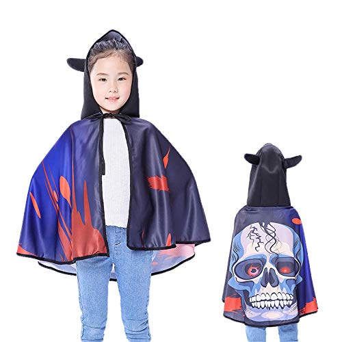CYYMY Kinder Halloween Umhang Cape Lang Mantel Cosplay Kostüm Karneval Fasching Teufel Kürbis Hexe Vampir Bat Party Ostern Weihnachten 80cm,B