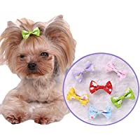 6 pinzas para el pelo de perro o gato para cachorro, pinzas de cocodrilo para el pelo, lazo, flores, accesorio para el pelo de mascotas