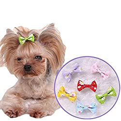 6 Pcs Dog Cat Puppy Hair Clips Alligator Clips Hair Bow Tie Flower Bowknot Hairpin Pet Grooming Puppy Hair Accessories