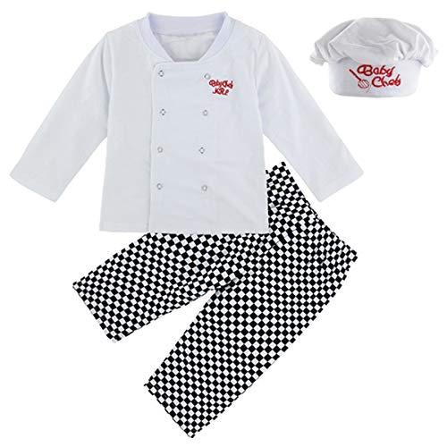5bef8c8b9 Mombebe Disfraz Bebé Niños Cocinero Ropa Set con Sombrero (Cocinero, 4 Años)