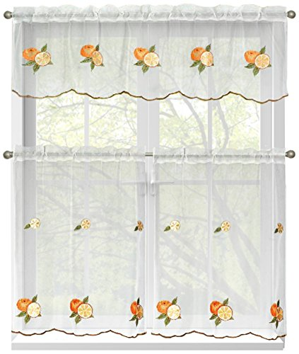 Fenster Elements bestickt 3-teilig Küche Kontingent und Querbehang 60x 54Set Orangetöne