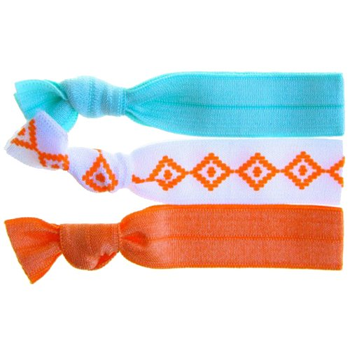 Twistband TRIBAL set 3 élastiques motif tribal s/blanc, orange, mint