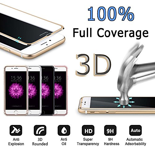 Frixie (TM) 3D coperte in vetro temprato per iPhone 77Plus HD pellicola protettiva con telaio in metallo alluminio copertura totale 11,9cm 14cm Black Iphone 7 Rose Gold Iphone 7