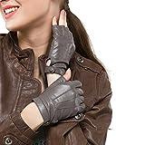 Nappaglo Damen Lederhandschuhe für fahren Halbfinger fingerlose Handschuhe für Fahren Outdoor Motorrad Radfahren Handschuhe (M (Umfang der Handfläche:18.4cm), Grau)