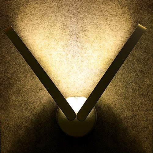 Lampada da parete led moderno 9w (3000k), agptek applique alluminio puro per camera da letto, soggiorno, cucina, bagno, colore del corpo argento, luce a colori bianco caldo