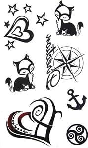 GGSELL Nouvelle version de tatouage autocollant étoiles étanche animaux de tatouage d'une ancre femme en forme de cœur faux