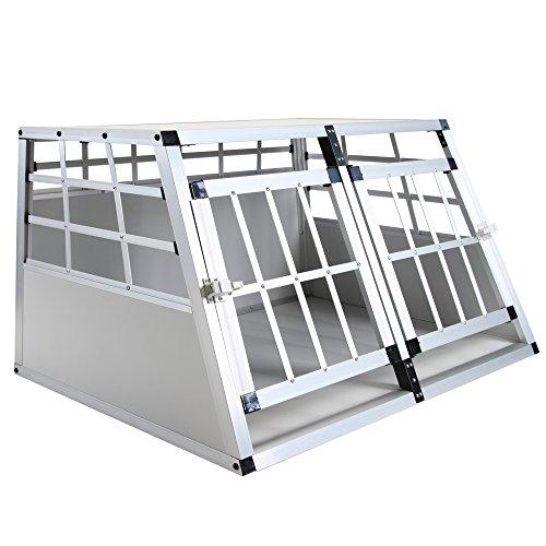 Jalano Doppel Hundetransportbox S Auto Gitterbox Hunde Alu Hundebox Kofferraum, Farbe:grau