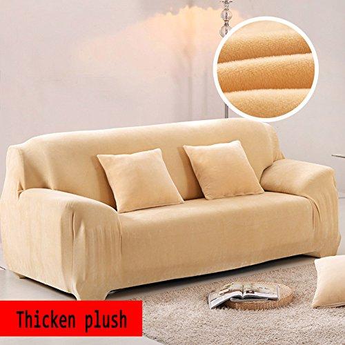 Yq whjb anti-scivolo fodera elastica,peluche copridivano tinta unita,inverno più spessa surefit stretch mobili protector per 1 2 3 4 cuscini divano divano in pelle coperture-beige divano