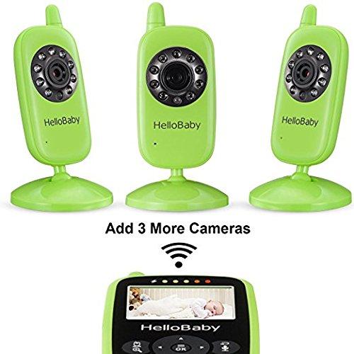 HelloBaby HB24 2.4″ Digital Funk TFT LCD Drahtlos Babyphone Wireless Video Kamera Baby Monitor Babyviewer Überwachung Nachtsicht + Temperatursensor EU Plug(Grün)