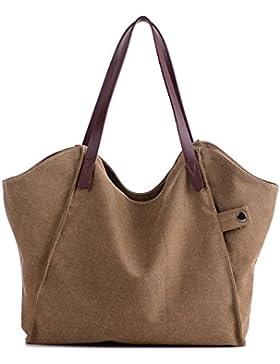 """Damen Handtaschen Canvas,Gindoly Retro Umhängetasche Leinwand Umhängetasche Schultertasche Shopper 14.5""""für Schule..."""