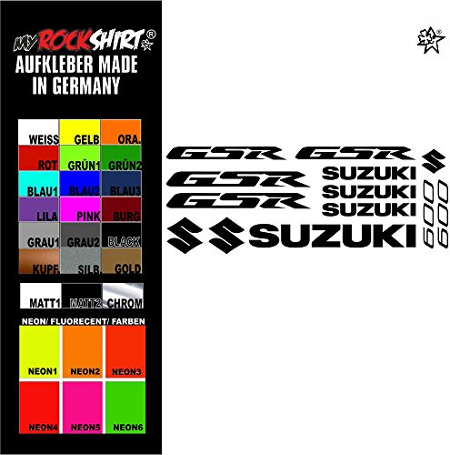 """myrockshirt® Aufkleber Set \""""rot\"""" Suzuki gsr 600 Aufkleber Set Sticker Decal kit 4713 Motorrad Tuning Set Bike aus Hochleistungsfolie ohne Hintergrund Profi-Qualität viele Farben zur Auswahl MADE IN GERMANY"""