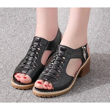 Sanmulyh Femmes Chaussures Pu Printemps Été Confort Sandales Chunky Talon Pour Casual Beige Blanc Noir Noir