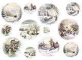 Reispapier A4 - Winterlandschaft mit Schlitten. Motiv-Strohseide, Strohseidenpapier, Decoupage Papier