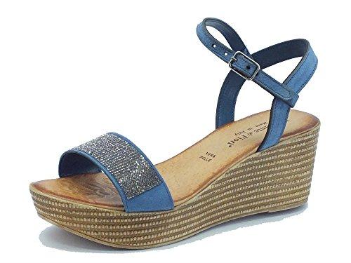 Sandalo Mercante di Fiori donna in camoscio blu con strass Camoscio Blu
