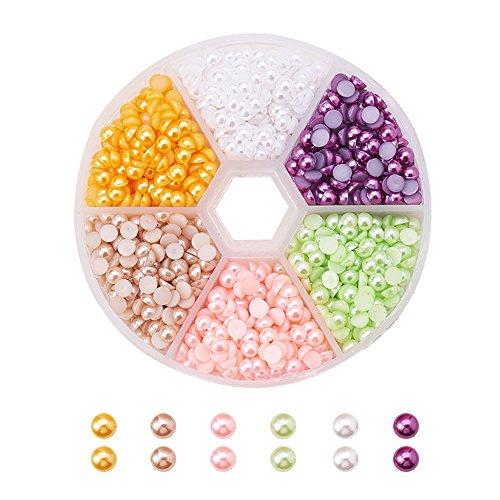 PandaHall Elite - Lot de 6 Couleurs Perle d'imitation en Acrylique ABS Dôme Cabochons, Demi-rond, 4x2mm