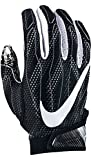 Nike Superbad 4 American Football Handschuhe Receiver - Black/Wolf Grey/Metallic Silver (Large)