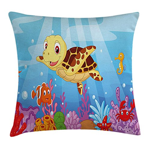 BUZRL Turtle Throw Pillow Cushion Cover, Funny Adorable Cartoon Style Underwater Sea Animals Baby Turtle and Fish Collection, Decorative Square Accent Pillow Case, 18 X 18 inches, Multicolor
