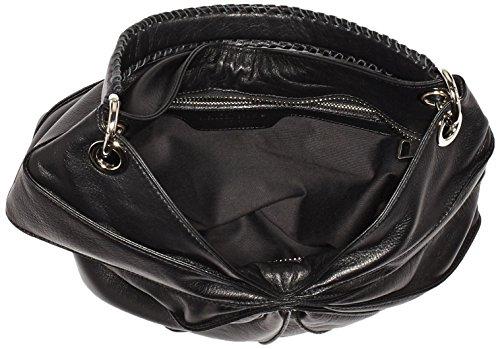kaviar gauche Lamella Bag Semi w. braided handle Y114B Damen Umhängetaschen 38x34x8 cm (B x H x T) Schwarz (Black/Silver)