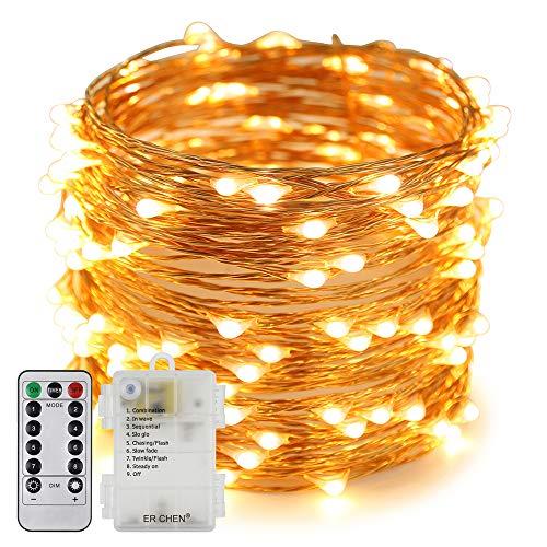 Erchen Batteriebetrieben LED Lichterkette, 66 FT 200 LED 20M dimmbare Kupfer Draht Lichterketten mit Fernbedienung 8 Modi Timer für Innen Außen Weihnachten Party (warmweiß) -