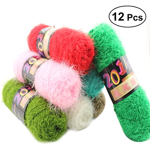 Healifty 12pcs Wimpern stricken Garn häkeln Spaß Pelzgarn Multicolor Feather Down handgewebte Garn häkeln Coral Kaschmir Garn (Mischfarbe) -