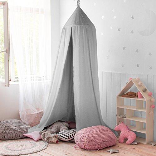 GUSODOR Baldachin Kinder Bett Kuppel Baumwoll Betthimmel Moskitonetz Spiel Zelt Gut für Baby Innen im Freienspiel Lese Schlafzimmer Ankleidezimmer Höhe 240cm (Grau) -
